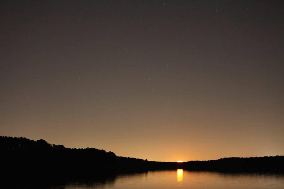 Moonrise on B. Everett Jordan Lake, NC